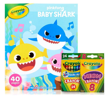 Baby Shark Coloring Book and Crayons Set Front View of Components